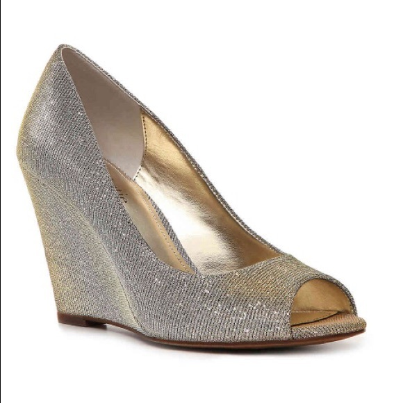 eecb0ccde88 Kelly   Katie Shoes - Kelly   Katie metallic fabric wedges